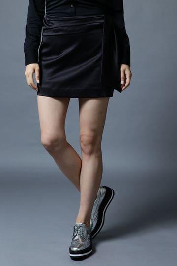 BK/ウエストリボンストレッチサテンスカート