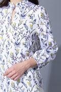 【Outlet】BK/シルクストレッチサテンジョーゼット花柄ブラウス