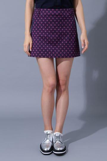 BK/ダイヤ柄ストレッチジャガードスカート