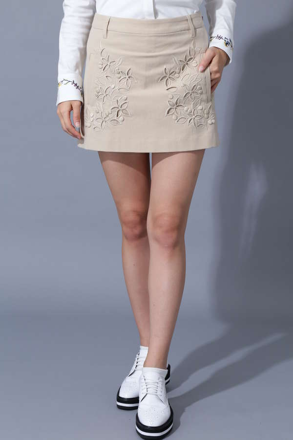 【Outlet】BK/ストレッチタッサー刺繍スカート