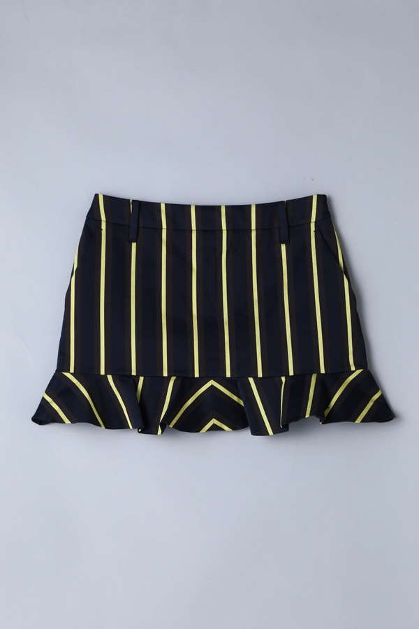 【Outlet】BK/レジメントストライプストレッチスカート
