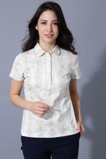 BK/スーピマ強撚スムースフェザー柄半袖シャツ