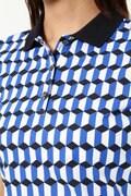 WH/8口鹿の子 ジオメトリックプリント ポロシャツ