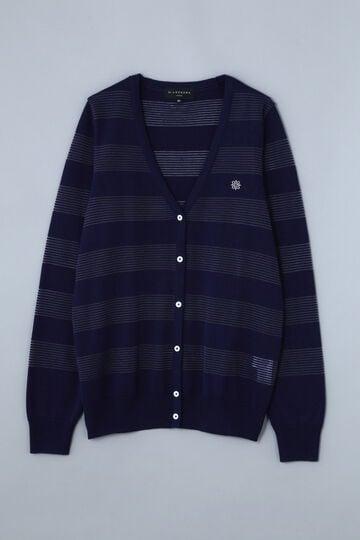 【Outlet】BK/シルク/カシミヤ切替え ボーダーカーディガン