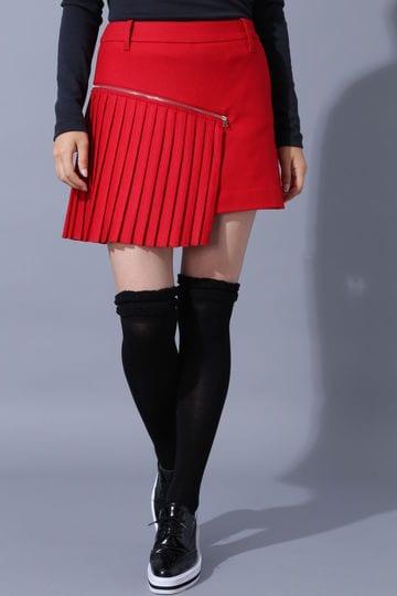 BK/ライトストレッチフラノプリーツスカート