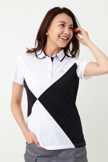 WH/ハイゲージハニカム配色半袖ポロシャツ