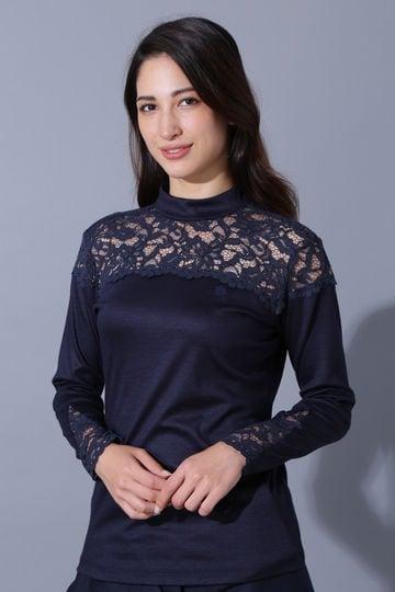 BK/カシミヤタッチウールスムースハイネックカットソー