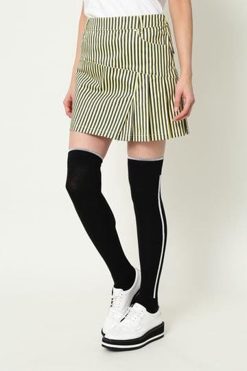 WH/綿サテンストレッチストライププリントスカート (WOMENS)