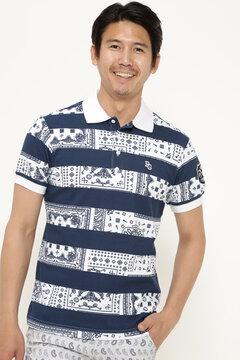 ダブルフェイス カノコ  半袖 ポロシャツ <ペイズリーボーダー柄>