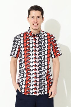 ブロード イチゴプリント 半袖ボタンダウンシャツ(MENS)