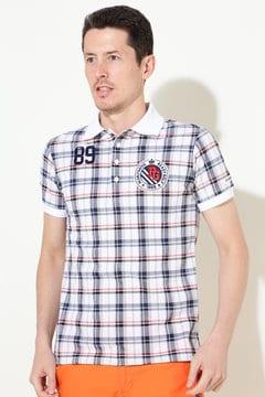 ハイブリッドチェックプリント カノコ 半袖ポロシャツ