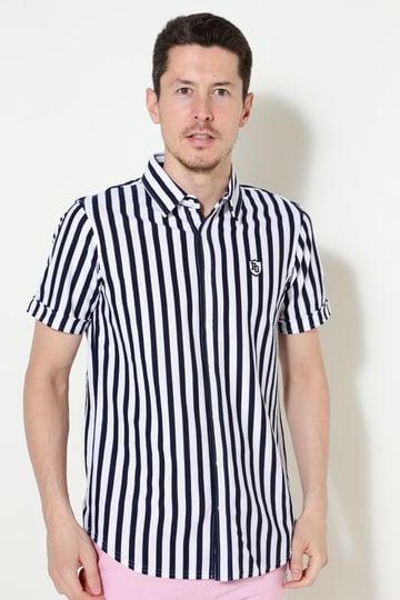 カノコ 半袖 ストライププリント カットソーシャツ