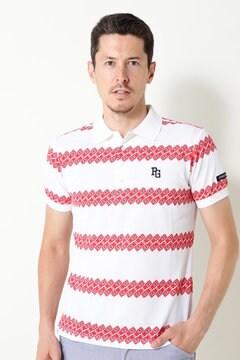 ヨリクール カノコ ケチャップボーダー柄 半袖ポロシャツ
