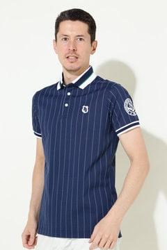 セオα度詰カノコ ストライプ柄 半袖ポロシャツ