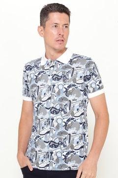 スーピマカノコ NYマルチ柄 プリント 半袖ポロシャツ