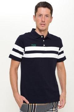 パネルボーダー カノコ 半袖ポロシャツ
