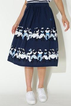 ムラ系キャンバス カリプソボーダープリント スカート