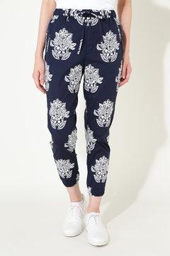 ブロードストレッチ 飛柄 バティックプリント パンツ