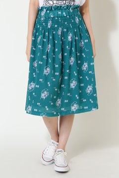 綿レーヨン麻ボーダーボイル カート柄プリント スカート