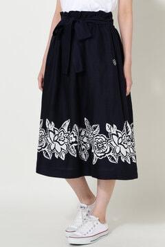 ボーダーバティックプリント スカート