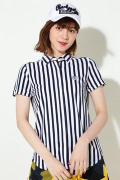 ツイルカノコ ストライプ カットソーシャツ