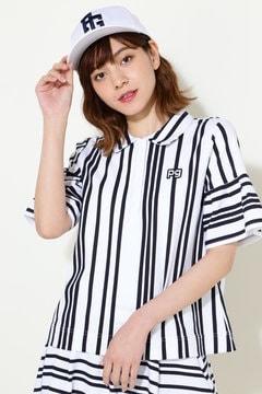 強撚×ポンチシルケット ストライプ柄 半袖ポロシャツ