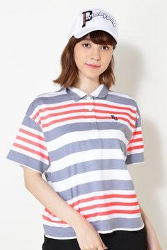 トップクール天竺 蛍光ボーダープリント 半袖ポロシャツ
