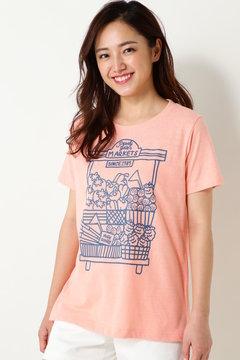 ムラ糸 マーケットプリント 半袖Tシャツ