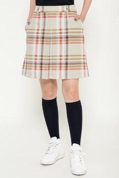 ビッグチェックプリント ストレッチツイル スカート