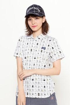 スーピマ天竺 窓柄プリント 半袖ポロシャツ