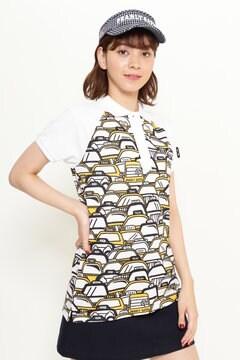 スーピマカノコ タクシー柄プリント ラグラン 半袖ポロシャツ