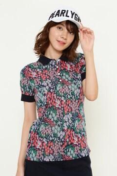 花柄ジャガード シルケット 半袖ポロシャツ