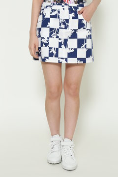 花&チェッカーフラッグプリント ミニスカート