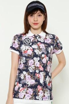 カノコ フラワープリント 半袖 ポロシャツ