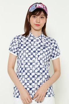 レースジャガード 市松柄 半袖ポロシャツ