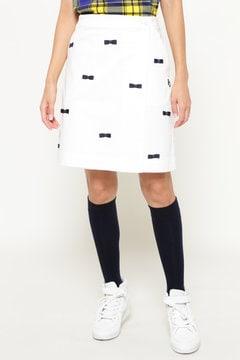コンパクトチノストレッチ リボン ラップスカート