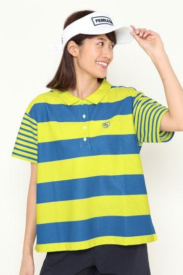 ハニカムボーダー 半袖 ポロシャツ