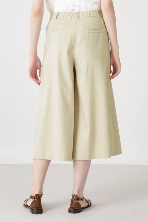 ポリエステルコットン麻ツイルシャンブレーキュロットスカート