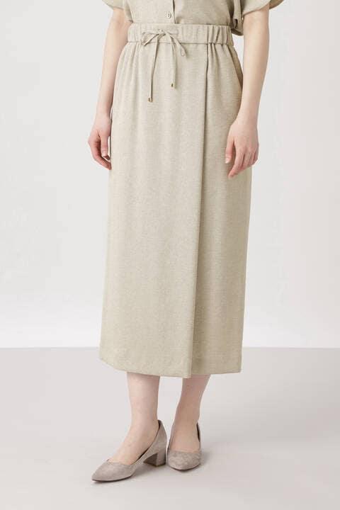 《arrive paris》フェイクリネンラップ風スカート