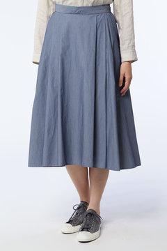 C/NYシャンブレースカート タックフレアスカート