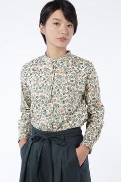 リバティプリント スタンドカラーシャツ