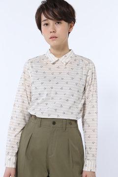 ボーダー&フラワープリントシャツ