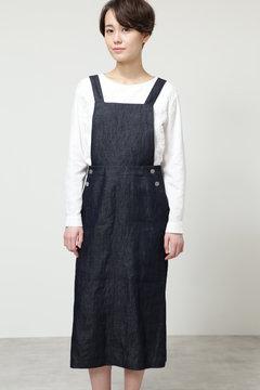 綿麻ライトデニムサロペットスカート
