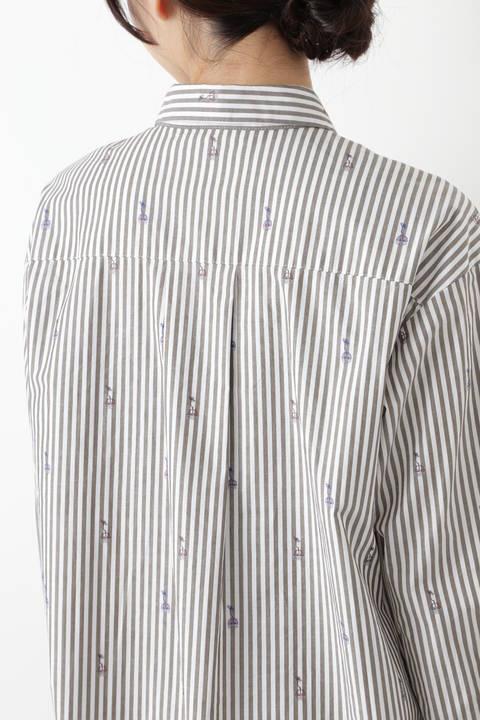 ストライプジャガードロングシャツ