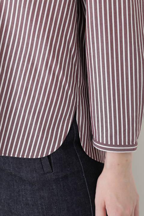 ブロードストライプスタンドカラーシャツ