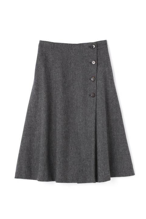 ライトモールスキンボタンディテールスカート