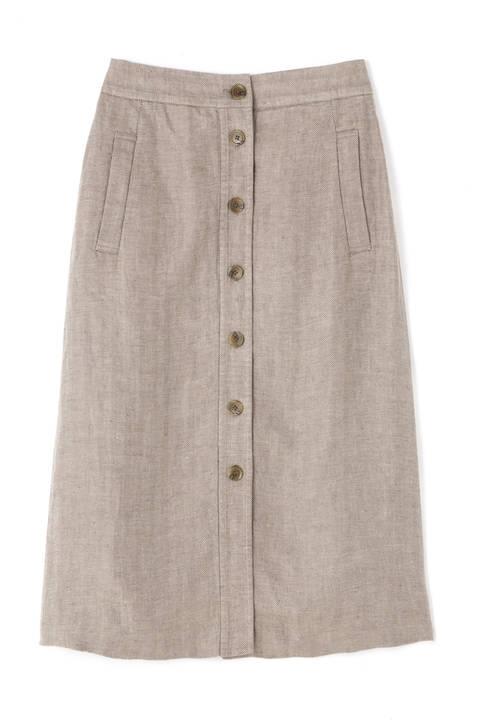 高密麻ヘリンボーンボタンディテールスカート