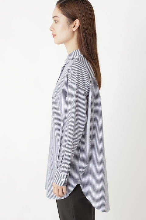 リヨセル綿ストライプシャツ
