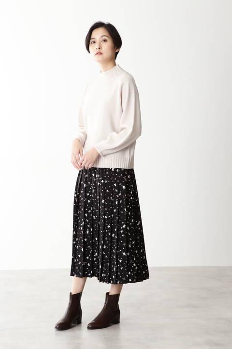 ポリエステルジョーゼットフラワープリントスカート
