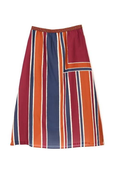 コットンシルクアーティパネルプリントスカート